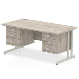 image-Zetta Executive Desk Ebern Designs Frame Colour: Grey, Size:  73cm H x 160cm W x 80cm D