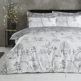 image-Chinoiserie Grey Reversible Duvet Cover and Pillowcase Set Grey and White