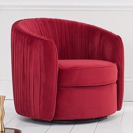 image-Sarenot Velvet Upholstered Swivel Chair In Russett