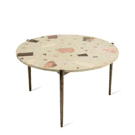 image-Nougat Coffee table - / ├ÿ 71 x H 40 cm - Terrazzo by Pols Potten White,Patinated metal