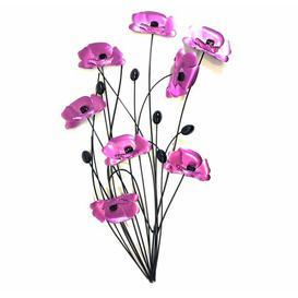 image-Poppy Flower Bunch Metal Wall Décor