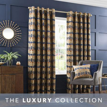 image-Budapest Midnight Spice Jacquard Eyelet Curtains Brown and Blue