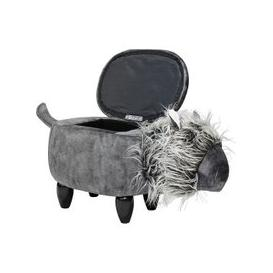 image-Lion Shaped Ottoman Storage Seat In Grey