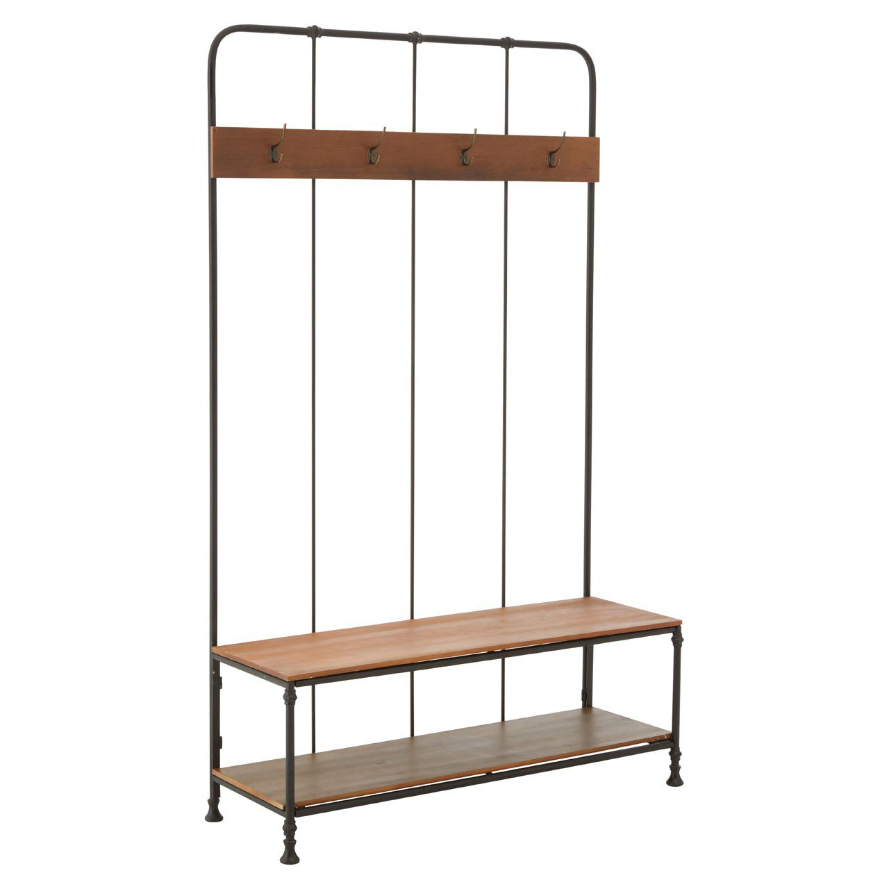 image-New Foundry Industrial Furniture Hall Bench with Coat Hooks