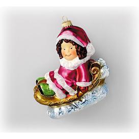 image-Little Girl on a Rocking Horse Hanging Figurine Ornament Krebs Glas Lauscha