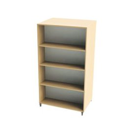 image-Nucleus Curve Double Sided Mobile Straight Bookcase, Cream/Red, Free Standard Delivery