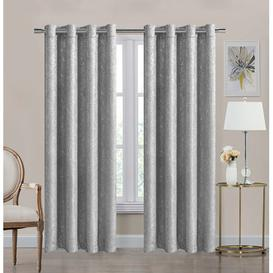 image-Hathaway Eyelet Room Darkening Curtains Canora Grey Colour: Silver, Panel Size: 168 W x 228 D cm