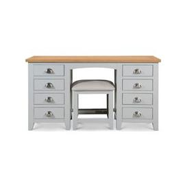 image-Julian Bowen Richmond Oak and Grey 8 Drawer Dressing Table with Stool