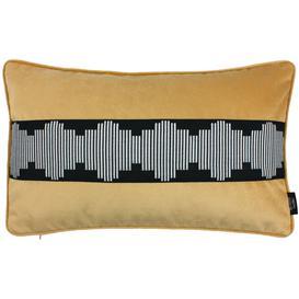 image-Maya Striped Ochre Yellow Velvet Cushion, Polyester Filler / 60cm x 40cm