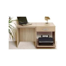 image-Small Office Desk Set With Single Drawer & Printer Shelf (Sandstone)