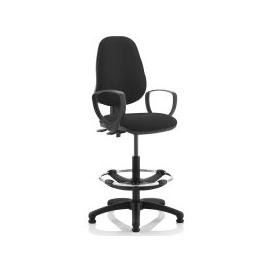 image-Lunar 2 Lever Draughtsman Chair (Fixed Arms), Black