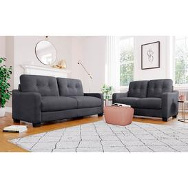 image-Belmont Slate Grey Plush Fabric Sofa 3+2 Seater Sofa Set