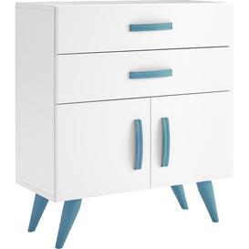image-Pamplona 2 Drawer Chest of Drawers Just Kids Finish: Lacquered White / Blue