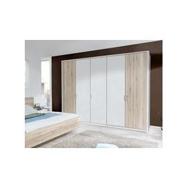 image-Wiemann Arizona 5 Door Wardrobe in White and Santana Oak - W 250cm