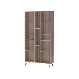 image-Canell Wooden Bookcase Wide In Oak Effect With Black Metal Legs