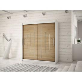 image-Natalie 2 Door Sliding Wardrobe Natur Pur Size: 200 cm H x 200 cm W x 62 cm D, Colour: Matt white/Sonoma oak