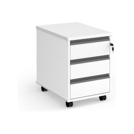 image-Value Line Classic+ 3 Drawer Mobile Pedestal (Graphite Slats), White, Free Next Day Delivery