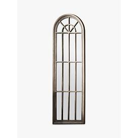 image-Curtis Arched Window Wood Frame Wall Mirror, 180 x 60cm, Natural