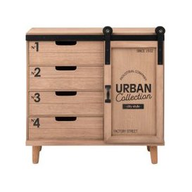 image-Small 1-Door 4-Drawer Printed Storage Unit