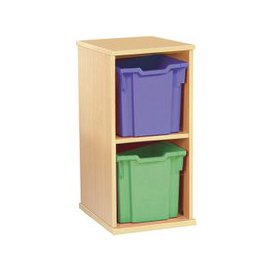 image-Single Bay Mobile Storage Unit With 2 Jumbo Trays, Beech/Sunshine Yellow, Free Standard Delivery