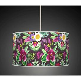 image-Polyester Drum Shade Bay Isle Home Colour: Black/Purple/Green, Size: 22cm H x 40cm W x 40cm D, Type: Ceiling/Wall