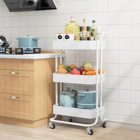 image-Storage Trolley Cart, 3 Tier Rolling Utility Organizer Rack,Multi-Purpose Trolley Organizer Cart With Casters, Tower Rack Serving Trolley For Office B