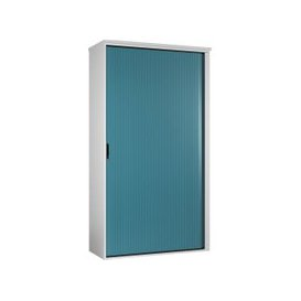 image-Campos Tall Tambour Unit (Light Blue), Light Blue, Free Next Day Delivery
