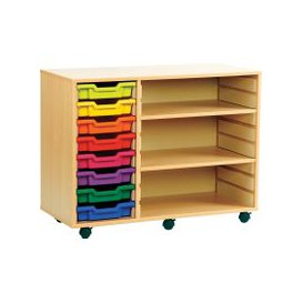 image-Combination Tray Storage Bookcase,  6 Tray/2 Shelf - 103wx46dx62h (cm), Green, Free Standard Delivery