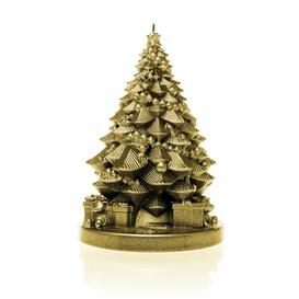 image-Xmas Tree with Gifts Unscented Novelty Candle Candellana Colour: Classic Gold
