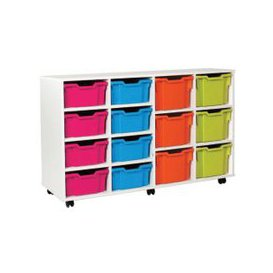 image-White 8 Deep, 6 Extra Deep Tray Storage Unit, Pink/Cyan/Orange/Lime, Free Standard Delivery