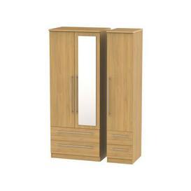 image-Sherwood Oak 3 Door Triple Wardrobe with Mirror and Drawer