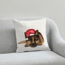 image-German Shepherd Christmas Hat Cushion Natural