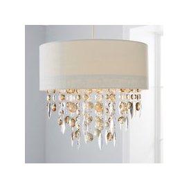 image-Mila Ivory Jewel Shade Easy Fit Pendant Ivory (White)