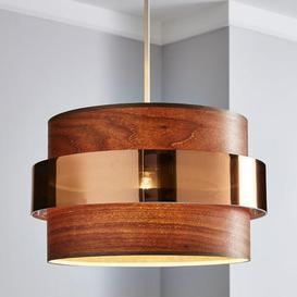 image-Joey Dark Wood Easy Fit Pendant Brown
