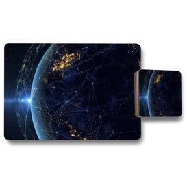 image-Aaru Connection Lines Around Earth Globe Designer 12 Piece Placemat and Coaster Set