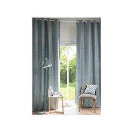 image-Single Blue Grey Fabric Eyelet Curtain 130x300