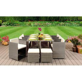 image-Whalan 10 Seater Dining Set with Cushions Sol 72 Outdoor Colour: Light Grey