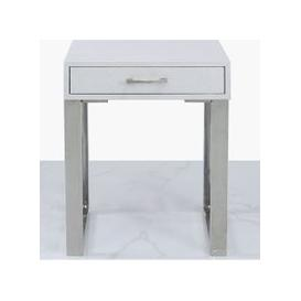 image-Enna Silver Faux Stingray Leather 1 Drawer End Table