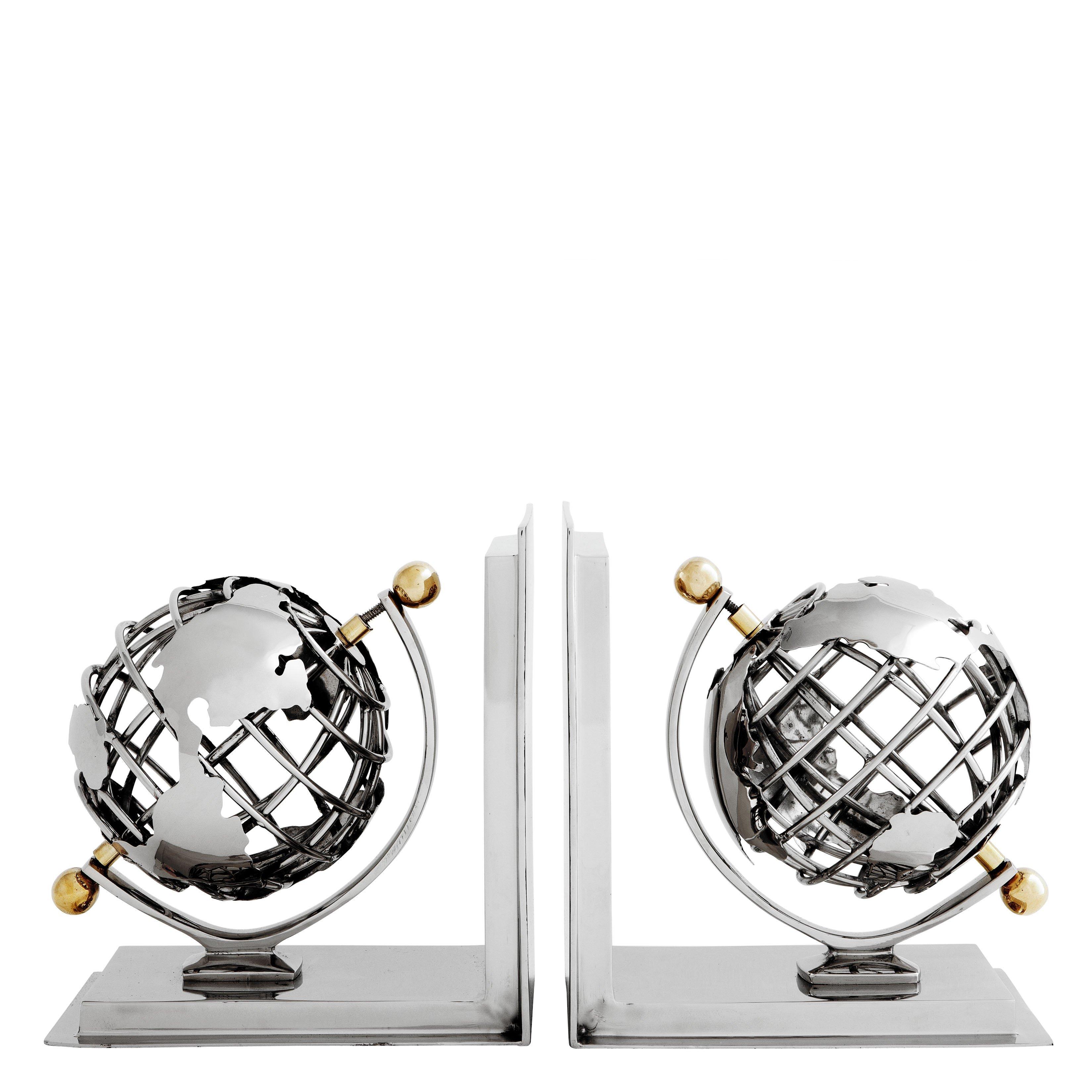 image-Eichholtz Bookend Globe set of 2 nickel finish polished brass
