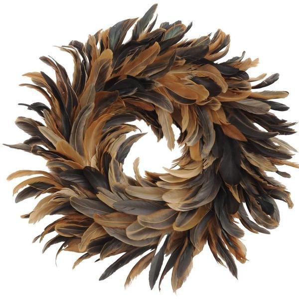 image-Libra Feather Brown Small Wreath - Xmas-19