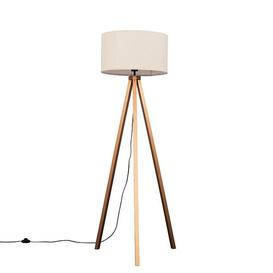 image-Mejias 150cm Tripod Floor Lamp Mercury Row Shade Colour: Mink Polycotton, Bulb: LED Bulb