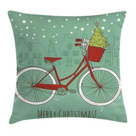 image-Kasim Christmas Bike Xmas Trees Outdoor Cushion Cover Ebern Designs Size: 50cm H x 50cm W