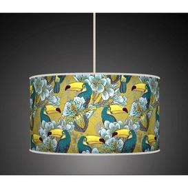 image-Polyester Drum Pendant Shade Bay Isle Home Colour: Blue/Yellow, Size: 20cm H x 30cm W x 30cm D, Type: Ceiling/Wall
