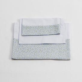 image-Baby Sheet Set Just Kids Colour: White/Sky Blue, Size: 80 cm W x 150 cm L