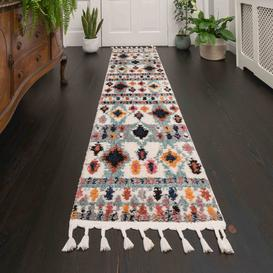 image-Colourful Aztec Diamond Distressed Moroccan Hall Runner Rugs - Souk