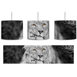 image-Lion with Cub 1-Light Drum Pendant East Urban Home Shade Colour: Black/Grey