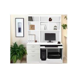 image-Small Office Desk Set With 3 Drawers, Computer Workstation & Hutch Bookcases (White)