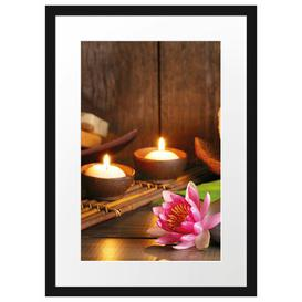 image-'Candles with Zen Stones and Water Lily' Framed Poster East Urban Home Size: 55 cm H x 40 cm W