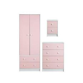 image-Conway 3 Piece Childrens Bedroom Package - 2 Door, 2 Drawer Wardrobe, 4 Drawer Chest And 2 Drawer Bedside Chest - Pink
