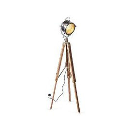 image-Culinary Concepts - Spotlight Floor Lamp with Two Tone Natural Wood Tripod - Brown
